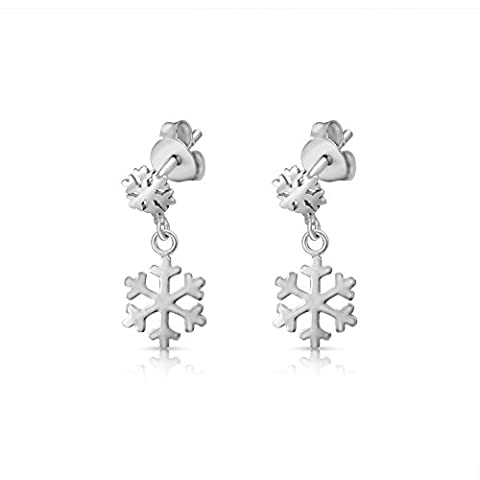 Sterling Silver 2 Snowflakes Rhodium Plated Stud Earrings (Sterling Snowflake Earrings)