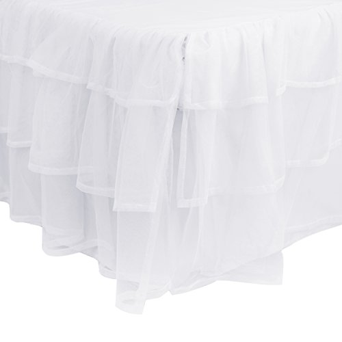 Triple Layer Full Bed Skirt - (Tulle Drop)