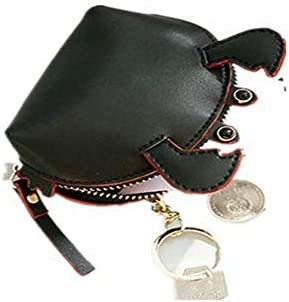 女性かわいいカニの形のコインパースソリッドレジャーキーホルダーコインバッグ YZUEYT