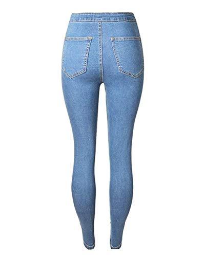 Elásticos Hellblau De Lápiz Ajustados Pantalones Vaqueros Moda Color Desgarrados Pantalón Mujer Para Sólido Casuales Mujeres Pitillo Exteriores wUXawxpq