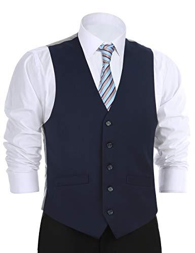 Chama Men's Formal Classic Fit Business Dress Suit Button Down Vest Waistcoat(38 Regular,Navy)