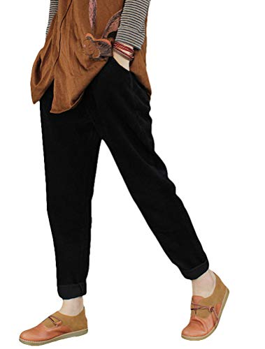 5b414db0a2b1a Minibee Women s Casual Corduroy Pants Comfy Pull on Elastic Waist Trousers  Drawstring Cotton Pants at Amazon Women s Clothing store
