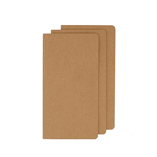 Unlined Travel Journal Set With 3 Notebook Journals for Travelers - Kraft Brown Soft Cover - H5 Size - 210 mm x 112 mm - 60 Pages/ 30 Sheets