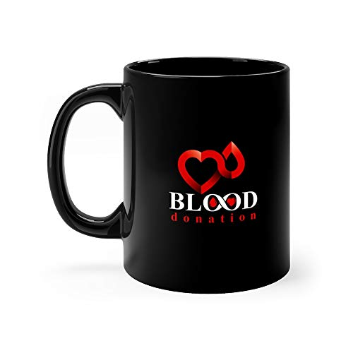 (Blood Donation Inscription Isolated On White And Created With Red Drops Heart Shape Infinity Symbol Medical The Type Water Mug Cup Ceramic 11 Oz)