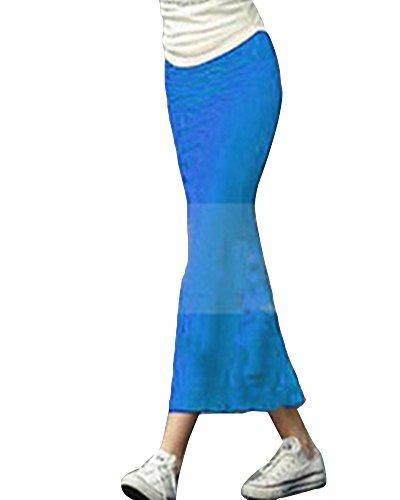 Casual Basique Taille Runyue Midi Haute Lac Plisse lastique Crayon Jupe Femme Moulant Bleu Bodycon lgante Taille 8g85razwxq