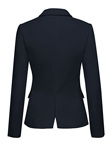 Lookbook Store LookbookStore Women's Navy Notched Lapel Pocket Button Work Office Blazer Jacket Suit Size XL