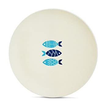 """Aquaterra Living Ecofriendly Dinner Plate Set with Fish Designs- Set of 6, 10"""" indoor or outdoor plates"""