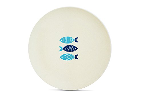 Aquaterra Living Ecofriendly Dinner Plate Set with Fish Designs- Set of 6, 10
