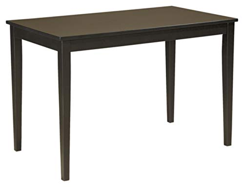 Signature Design By Ashley - Kimonte Rectangular Dining Room Table - Contemporary Style - Black (Wood Dining Table Small)