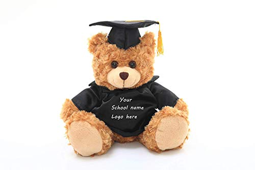 Plushland Plush Teddy Bear - Mocha Color for Graduation Day, Personalized Text, Name or Your School Logo on Gown, Best for Any Grad School Kids, Boys, Girls A (11 inches) -