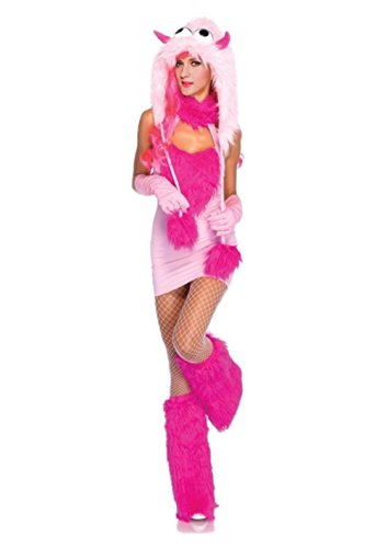 Monster Costume Women - Adult Pink Puff Furry Monster Halloween Costume - Pink Puff Monster Costumes