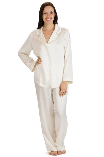 Fishers Finery Women's Classic Pure Mulberry Silk Pajama Set with Gift Box, Ivory, Small