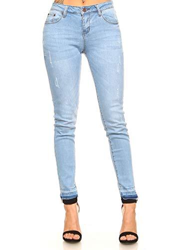 (Monkey Ride Jeans Women's Skinny Light Blue Denim with Dip Dyed Hem Jeans 5, LT/Blue )