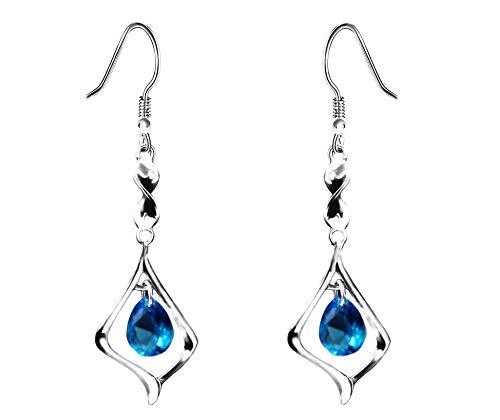 Purple Gemstone Gold Plate 925 Sterling Silver Drop Earrings for women (sky blue)