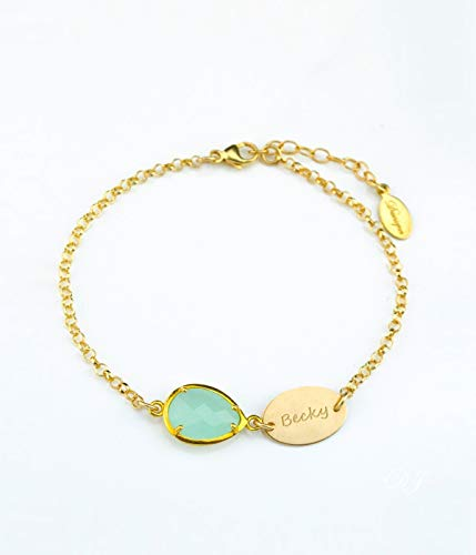 Name bracelet, new mom gift, Personalized Birthstone bracelet, Aqua CHalcedony bracelet, personalized bridesmaids gifts, teardrop half bezel half prong birthstone and oval disk with a name