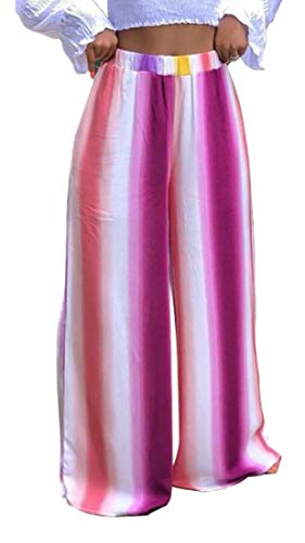 omniscient Women's Rainbow Striped High Waist Wide Leg Trousers Long Palazzo Pants 1 XS