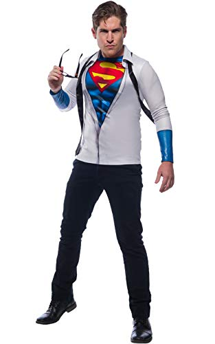 Rubie's Men's Standard DC Comics Photo Real Superman/Clark Kent Costume Top, as as Shown, Extra-Large -