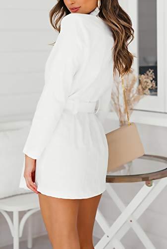 Informales Chaquetas Casuales Cinturón Primavera Mujeres Abrigos Clásica Elegantes Blanco Larga Slim Con De Blancas Gabardina Fit Fashion Mujer Manga Outerwear Solapa Botonadura Otoño Doble qC5HfCz