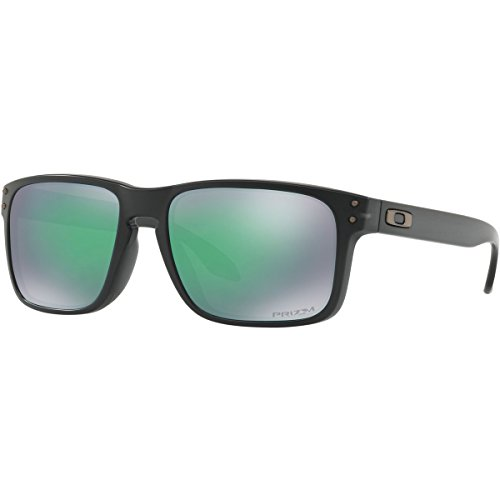 Oakley Men's OO9244 Holbrook Asian Fit Rectangular Sunglasses, Matte Black Ink/Prizm Jade, 56 mm (Oakley Asian Fit Damen)
