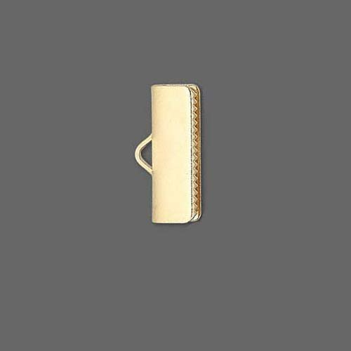 10 Smooth Gold Plated Crimp End Findings with Teeth For Flat Leather & Ribbon (5/8 inch (16mm))