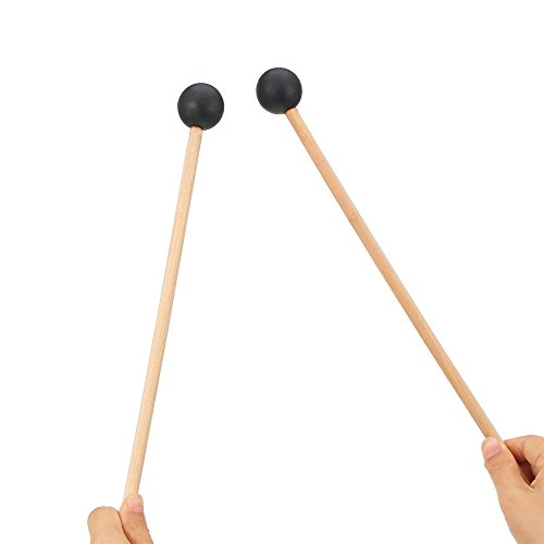 Set Energy Chime (DJDZ 2ct 15 Inch Long Bell Mallets Glockenspiel Sticks, Spherical Black Rubber Head Mallet Percussion with Wood Handle)