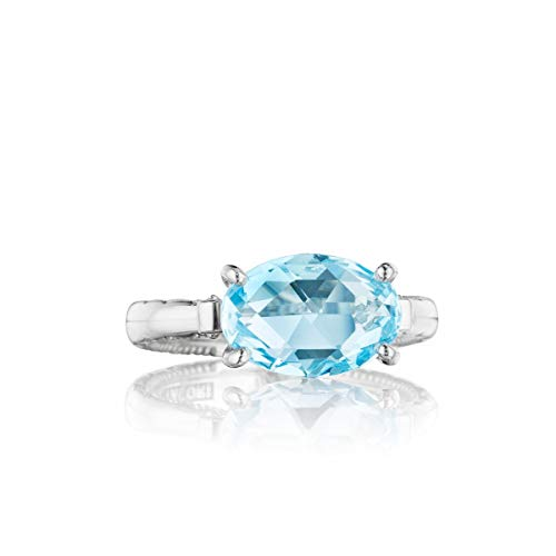 Tacori SR13902 Sterling Silver Island Rains East-West Sky Blue Topaz Oval Ring, Size 6