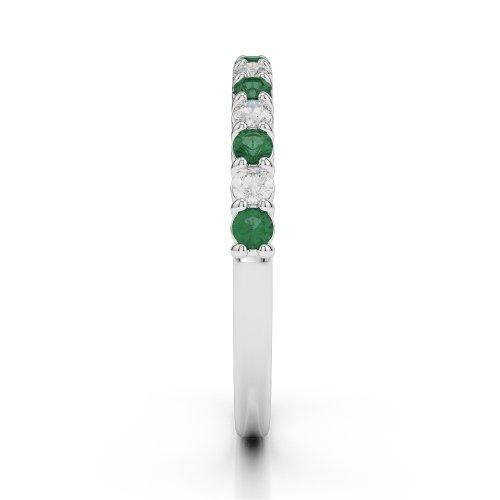 Or blanc 18carats 0,38CT G-H/VS Certifié Coupe ronde Émeraude et diamants Agdr-1113