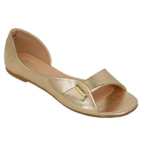 Sandales Plates Femmes Bout Ouvert À Enfiler Bella Étoile Chaussures Décontractées Mode Neuve Or - B7607
