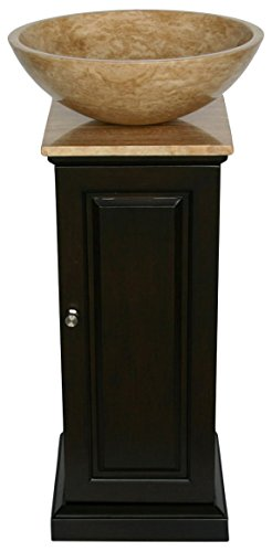Silkroad Exclusive HYP-0156-T-12_SRS-0029B Natural Stone Single Sink Bowl Vessel Bathroom Vanity with Pedestal Cabinet, 16.5