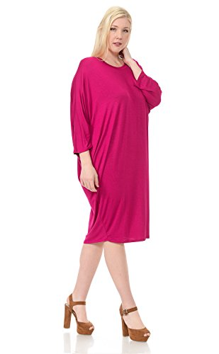 Dress Women's Plus Vivienne by Side Pastel Magenta Draped Sleeves Dolman T8qAFwR