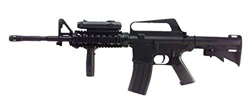 Airsoft Well M16A4 RIS a muella (spring) negra . Calibre 6mm. Potencia 0, 5 Julios . Con accessorios …
