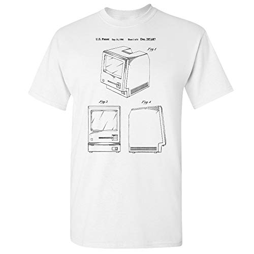 (Apple Macintosh Computer Patent T-Shirt, Adding Machine, Computer Blueprint, Mechanical Engineer, CPA Accountant White)