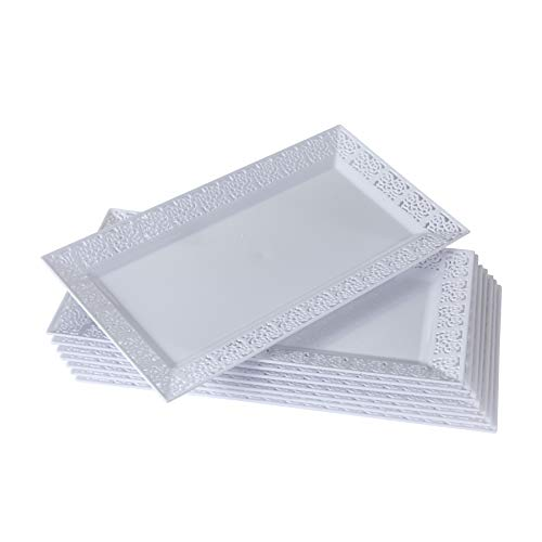 Plastic Serving Plates (DISPOSABLE LACE TRAYS | for Upscale Wedding and Dining | 6 pc | White | 14