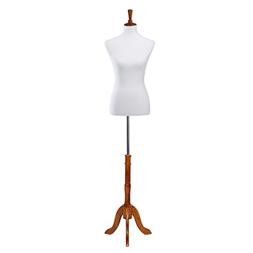 SONGMICS Female Mannequin Body Dress Form with Stand, Medium Size 6-8, Non-straight Pinnable, for Display Photographing, White UMDF04WT