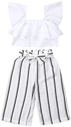 Toddler Kid Baby Girls Lace Flying Sleeve Button Striped Ruffled Top+Bowknot Shorts Outfit Clothes Set