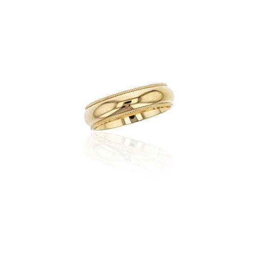 14K Yellow Gold 5mm Comfort Fit Milgrain Wedding Band 14k Yellow Gold Milgrain Band
