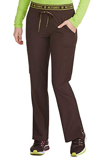 Med Couture Activate Scrub Pants Women, Flow Yoga 2 Cargo Pocket Pant, Chocolate, Small Tall