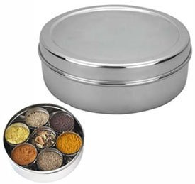 Spice Container - Masala Dabba - 7 Compartments, masala box,steel masala dabba,Spice container box,stainless steel spice box indian masala dabba with 7 spice containers,Stainless Steel Masala Dabba by Tanish Trading (Image #1)