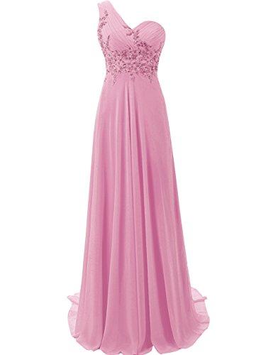 Gasa la Dama Largo Vestido Honor de Un Hombro Noche de Vestido de Mujer Vestido Baile JAEDEN de Rosa OgFw00