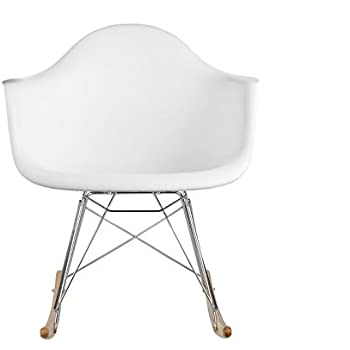Poly And Bark Rocker Lounge Chair, White