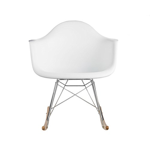 Poly and Bark Rocker Lounge Chair, White (Ghost Yellow Chair)