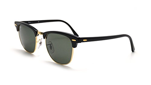 Ray Ban Sunglasses Clubmaster RB3016 W0365 Ebony Black/Arista Gold/Crystal Green, 51mm, Black Frame/Green G-15xlt Lens, 51 mm