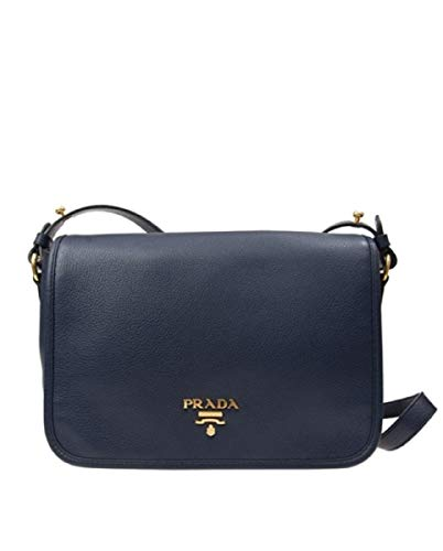Prada Women's Vitello Phenix Baltico Navy Pattina Shoulder Messenger Bag 1BD091