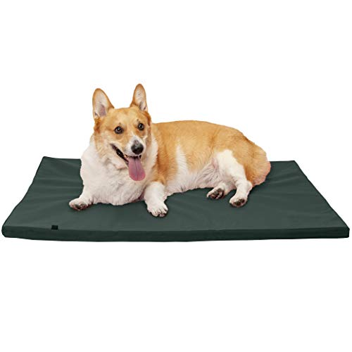 FurHaven Pet Kennel Pad | Reversible Two-Tone Water-Resistant Crate or Kennel Pad Pet Bed for Dogs & Cats, Green, Large