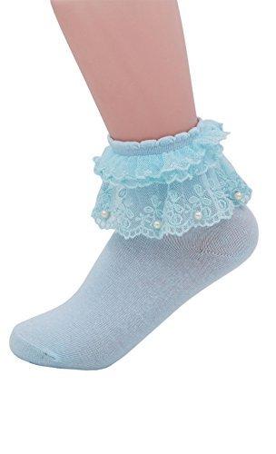 YASIDI Women Socks, Comfortable No-Show Cotton Ankle lace Socks Solid Color (1 Pairs, Light Blue) -