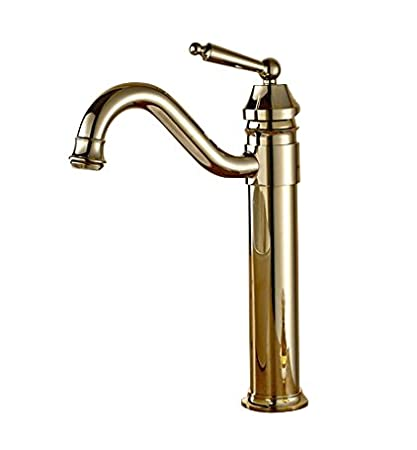 Antique Copper Finish Bathroom Sink Faucet Single Hole Mixer Taps Single Lever Handle Tall Swivel Curve Spout Kitchen Sink Faucet Bingo E-commerce 5630C