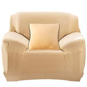 HALOVIE Housse de Canapé Extensible Protection du Sofa Universelle Revêtement de Canapé avec Taie d'oreiller Housse de Fauteuil Confortable dans Le Salon Chambre Maison Beige- 1 Place (90-140CM)