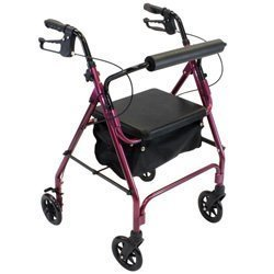 4 Wheel Padded Seat Basket (4 Wheel Rolling Walker with Shopping Basket, Padded Seat Burgundy)