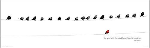 Birds Be Yourself  Red Bird  Inspirational Motivational Happiness Ingrid Bergman Quote Decorative Print  Unframed 12X36 Poster