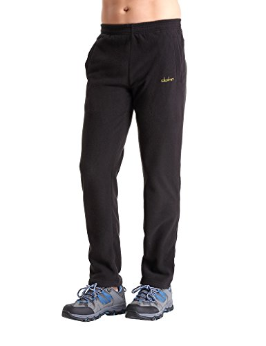 Clothin Men/Women Polar Fleece Thermal Sweatpants (Men Black US -